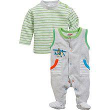 Schnizler Baby-Jungen Strampler Set Nicki, Flugzeug, 2-Tlg. mit Langarmshirt Geringelt, Oeko-Tex Standard 100, Grau (Grau/Melange 37), 62