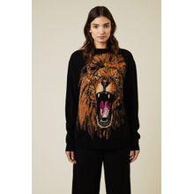 Stella McCartney Woll-Pullover mit Löwen-Intarsien-Print Schwarz