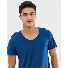 Selected Homme - T-Shirt mit U-Ausschnitt - Blau