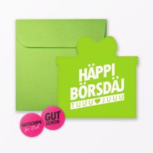 """TYPOP Geburtstagskarte \Häppi Börsdäj\"""" Grün in Geschenkform inkl. Umschlag + 2 Sticker"""""""