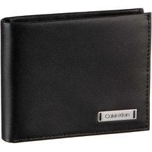Calvin Klein Brieftasche Smooth With Plaque Slimfold 6CC Wallet Black