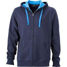 JN595 Men´s Hooded Jacke Sweatjacke Kapuze Sweatshirt, Farbe:Navy-Cobalt;Herrengrößen:3XL