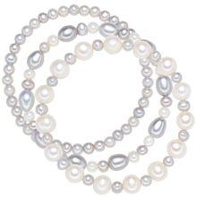 Valero Pearls Armband mit Süßwasser-Zuchtperlen 3er-Set hellgrau / weiß