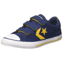 Converse Unisex-Kinder Star Player EV 3V Ox Navy/Mineral Yellow Sneaker, Mehrfarbig (Navy/Mineral Yellow/White), 37 EU