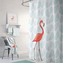 Persönlichkeit Kreativ Cartoon Flamingo Gesundheit und Sicherheit Badezimmer Duschvorhänge Wasserdicht Anti - Mehltau Jacquard Polyester Dick Duschvorhang mit Kunststoff Haken ( größe : 150cm*200cm )