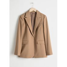 Wool Blend Tailored Blazer - Beige