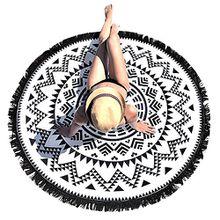 Runde Strandtücher Beach Towel, Sunroyal Round Mandala Design Strandtuch Tapestry Yoga Zigeuner Indian Hippie Picknick Decke Böhmischen Schal Tablecloth mit Quaste Mehrzweck Dekorative Wand hängen Bed Sheet Tischdecke-Schwarz und weiß
