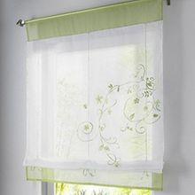 Souarts Grün Stickblume Gardine Raffgardinen Vorhang Raffrollo Schlaufenschal Deko für Wohnzimmer Schlafzimmer Studierzimmer 100*140cm