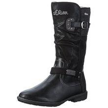 s.Oliver Mädchen 56602 Langschaft Stiefel, Schwarz (Black 1), 39 EU