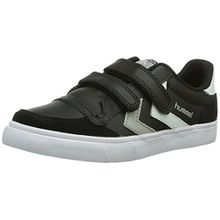 Hummel STADIL JR LEATHER LOW, Unisex-Kinder Sneakers, Schwarz (Black/White/Grey), 34 EU (2 Kinder UK)