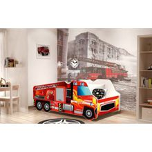 Relita Autobett LKW Feuerwehr inkl. Lattenrost und Matratze, rot, 70 x 140 cm