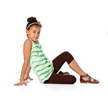 Kinder 3/4 Leggings in 22 Farben Baumwolle, Gr. 92 bis 158 cm, p701 Schokobraun 146