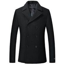 Herren schwarz Wolle & Cashmere Peacoat zweireihig Mantel warme Wintermantel (52)