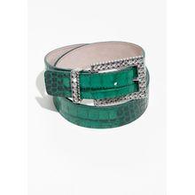 Croc Embossed Belt - Green