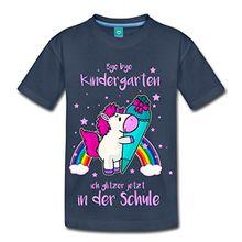 Spreadshirt Einschulung Einhorn Bye Kindergarten Kinder Premium T-Shirt, 122/128 (6 Jahre), Navy
