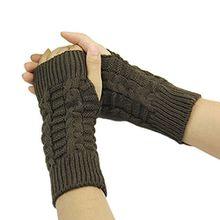Bluelans® Strick Armstulpen Pulswärmer fingerlos Handschuhe Damenhandschuhe Winterhandschuhe Fäustlinge Fausthandschuhe, Coffee, One Size
