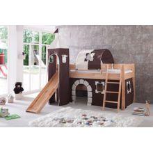 Relita Vorhangset mit Turm Spielbetten, Burg braun  Kinder
