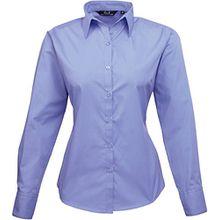 Premier Damen Popeline Bluse / Arbeitshemd, langärmelig 40 DE,Mittelblau