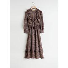 Printed Ruffle Bib Midi Dress - Brown
