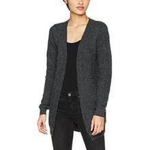 Vila CLOTHES Damen Strickjacke Viheri L/S Knit Cardigan/PB, Grau (Dark Grey Melange Detail:White Hairs), 38 (Herstellergröße: M)