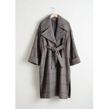 Belted Plaid Coat Cape - Blue