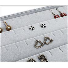 Samt Vorlagebrett Schmucklade für Anhänger Ohrstecker Ohrringe mit Schlitz grau