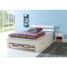 Relita Bettregal JULIA 140 cm breite Betten, Eiche massiv, weiß gewaschen  Kinder