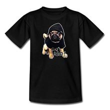 Spreadshirt Hip Hop Mops Yo Teenager T-Shirt, 134/146 (9-11 Jahre), Schwarz