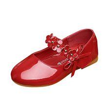 Lopetve Kinderschuhe Mädchen Ballerinas Festliche Schuhe Lackschuhe mit Blumen Rot 27