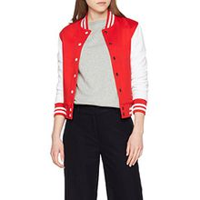 Urban Classics TB218 Damen Jacke Ladies 2-tone College Sweatjacket, Mehrfarbig(red/wht), X-Small