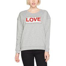 Scotch & Soda Maison Damen Sweatshirt Easy Sweat with Rock n Roll Artwork, Grau (Grey Melange 0G), X-Small