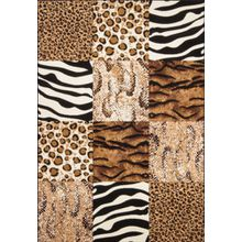 Moderner Designer Teppich USA - Chicago mit Tierfell Muster | Patchwork Optik, Größe:190x280cm