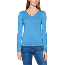 TOM TAILOR Damen Pullover Basic v-Neck Sweater, Blau (Blue Ocean Melange 6884), 46 (Herstellergröße: XXXL)