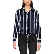 VERO MODA Damen Bluse Vmnicky L/S Tie Top D2-1, Mehrfarbig (Snow White AOP: Wide Stripe), 34 (Herstellergröße: XS)