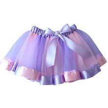 NiSeng Mädchen Tüllrock Tutu Ballettrock Regenbogen Pettiskirt Bowknot Tanzkleid Ballettrock Minikleid Fasching Cosplay Verkleiden M