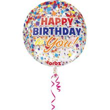 Amscan Folienballon Orbz Konfetti Happy Birthday mehrfarbig