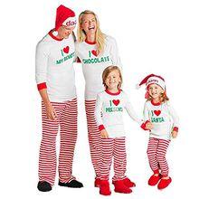 HLHN Weihnachten Familie Nachtwäsche Schlafanzug Pyjama Set (M, Weiß,Damen)