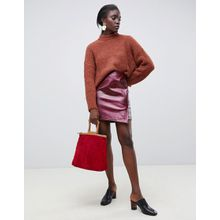 Selected Femme - Roter Wickelrock aus Leder mit Schlangenhautmuster - Rot