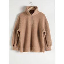 Faux Shearling Zip Pullover - Beige