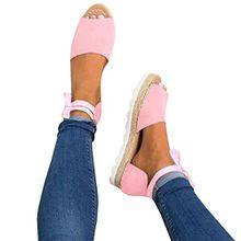 Offene Sandalen Damen Flach Schuhe Plateau Sommerschuhe Lace up Strandschuhe 35-43 Pink EU 39
