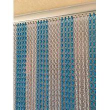 Ians Emporium Silber & Blau Doppelhaken Aluminium Kette Insektenschutz Tür Vorhang Fly Tür Display–Extra Lang–90cmx210cm