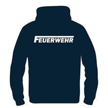 FEUERWEHR reflektierender Druck Kinder Sweatshirt mit Kapuze HOODIE Dunkelblau, Gr.116cm