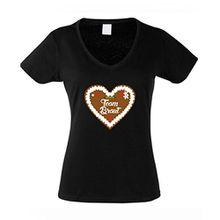Shirtdepartment Damen V-Neck T-Shirt Team Braut Junggesellenabschied Lebkuchen Herz, Schwarz, XL