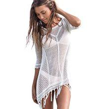 Beach Damen Bikini cover up, weiß Bademode Häkel Sexy Gestrickt Crochet Quaste Bademode Kleid Beachwear . (weiß)