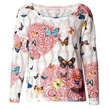 Damen Loose Pullover Kurz Ajour Design Mädchen Pulli Schmetterlinge S/M Rot