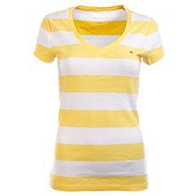 Tommy Hilfiger Damen V - Neck Shirt T-Shirt Damenshirt Stripes Citrus-Weiß Größe XXL