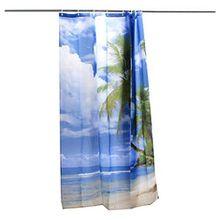 Duschvorhang - SODIAL (R) Tropische Palme Sommer-Strand-Polyester Duschvorhang Badezimmer-Dekor w / Haken