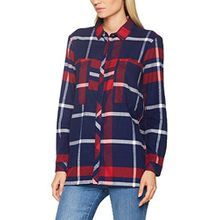 Tommy Jeans Hilfiger Denim Damen Bluse THDW Check Tunic L/S 16, Rot (Chili Pepper/Multi Big Check 901), Large