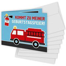Einladungskarten Löschwagen, 8 Stück inkl. Umschläge rot