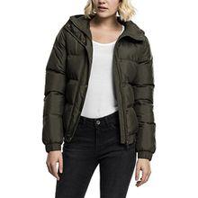 Urban Classics Damen Winterjacke Ladies Hooded Puffer Jacket, gefütterte Jacke für Herbst und Winter mit abnehmbarer Kapuze, Daunenjacke - Farbe darkolive, Größe S